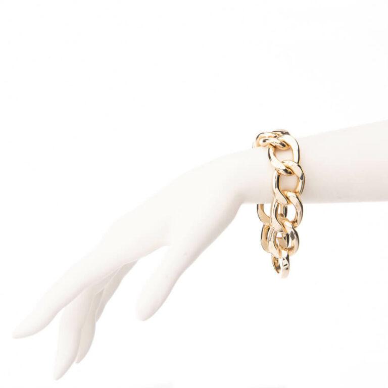 Bracciale catena groumette piatta placcato oro
