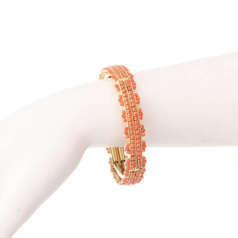 Bracciale elastico oro arancione corallo 2