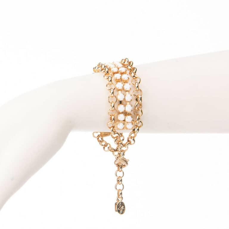 Bracciale morbido catena dorata cristalli bianchi 2