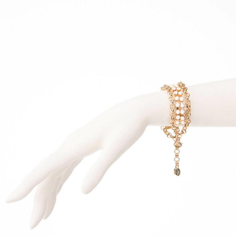 Bracciale morbido catena dorata cristalli bianchi 1