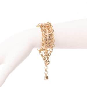 Bracciale morbido catena dorata cristalli topazio