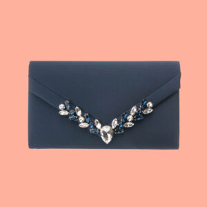 Pochette elegante decorazione cristalli blu 1