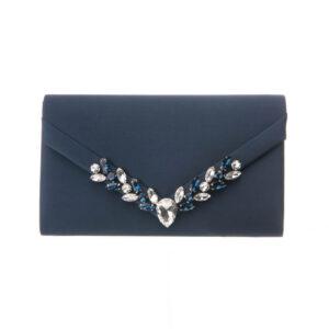 Pochette elegante decorazione cristalli blu 2