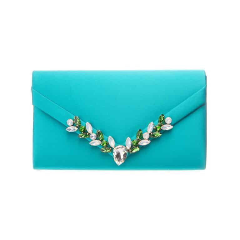 Pochette elegante decorazione cristalli verde smeraldo
