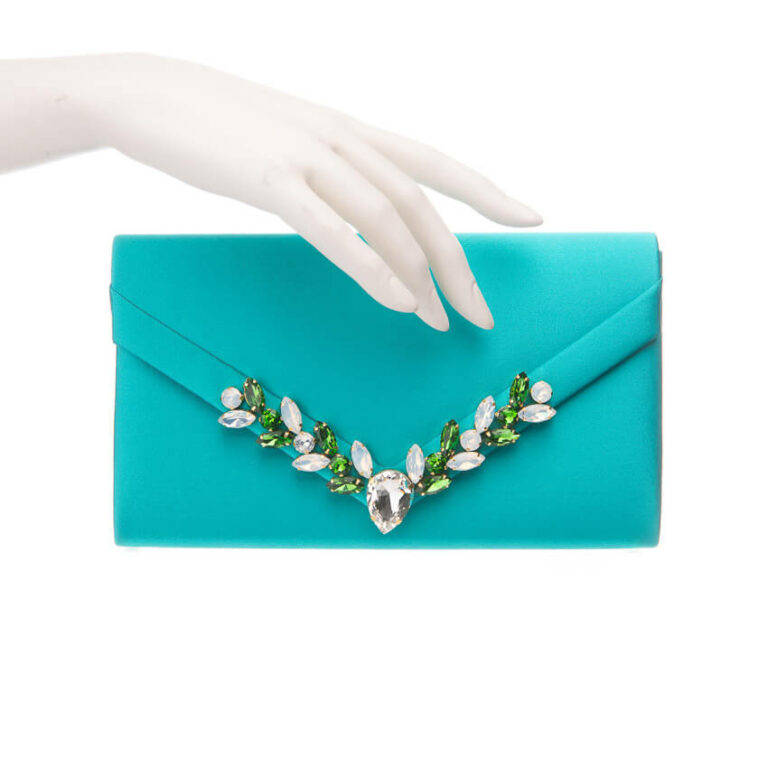 Pochette elegante decorazione cristalli verde smeraldo 2