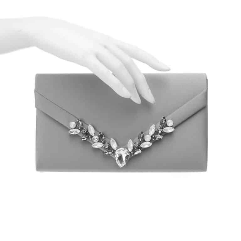 Pochette elegante decorazione cristalli blu 3