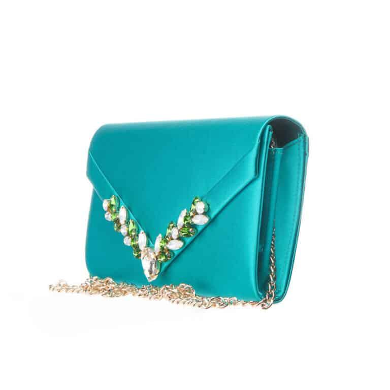 Pochette elegante decorazione cristalli verde smeraldo 4