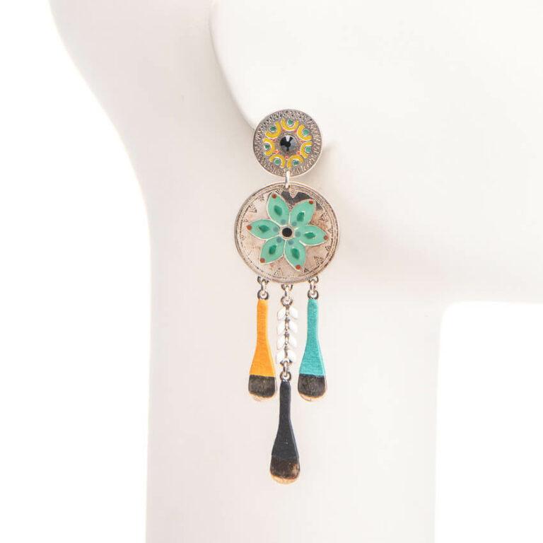 Orecchini perno cerchi argento turchese 1