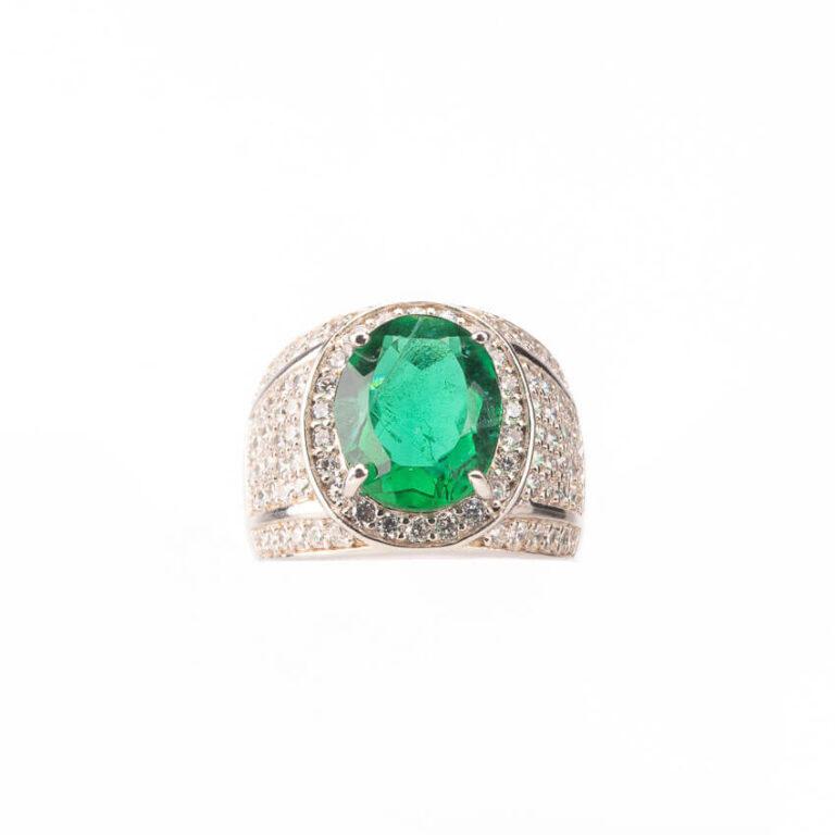 Anello fascia pietra centrale verde smeraldo taglio ovale 3