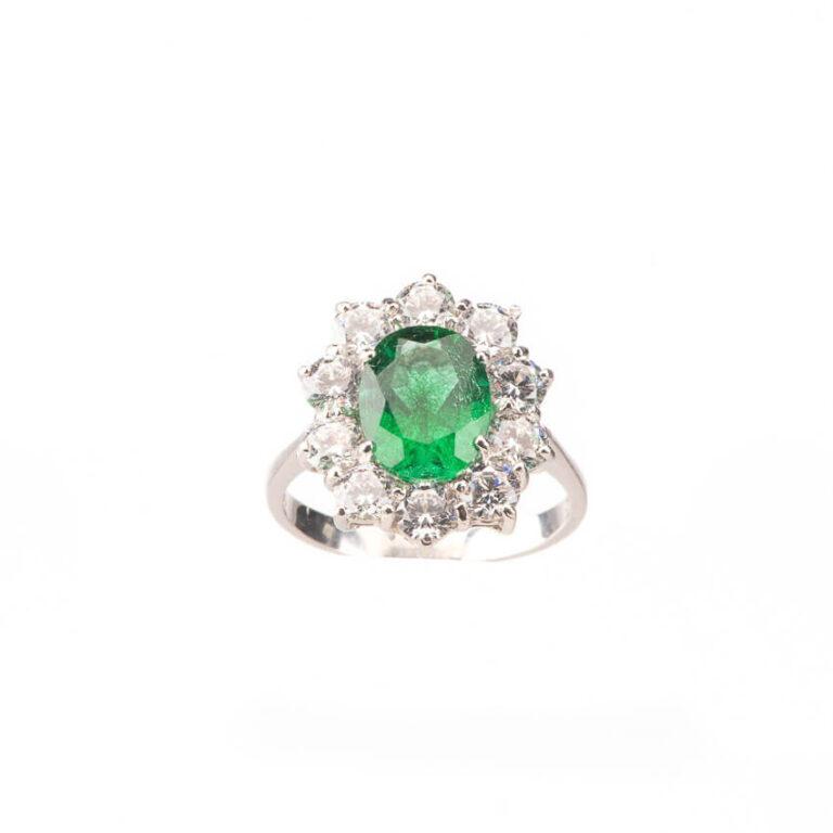 Anello fidanzamento verde smeraldo corona zirconi 3