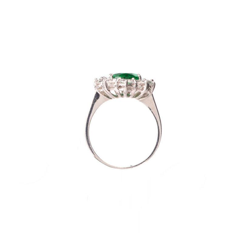 Anello fidanzamento verde smeraldo corona zirconi 4