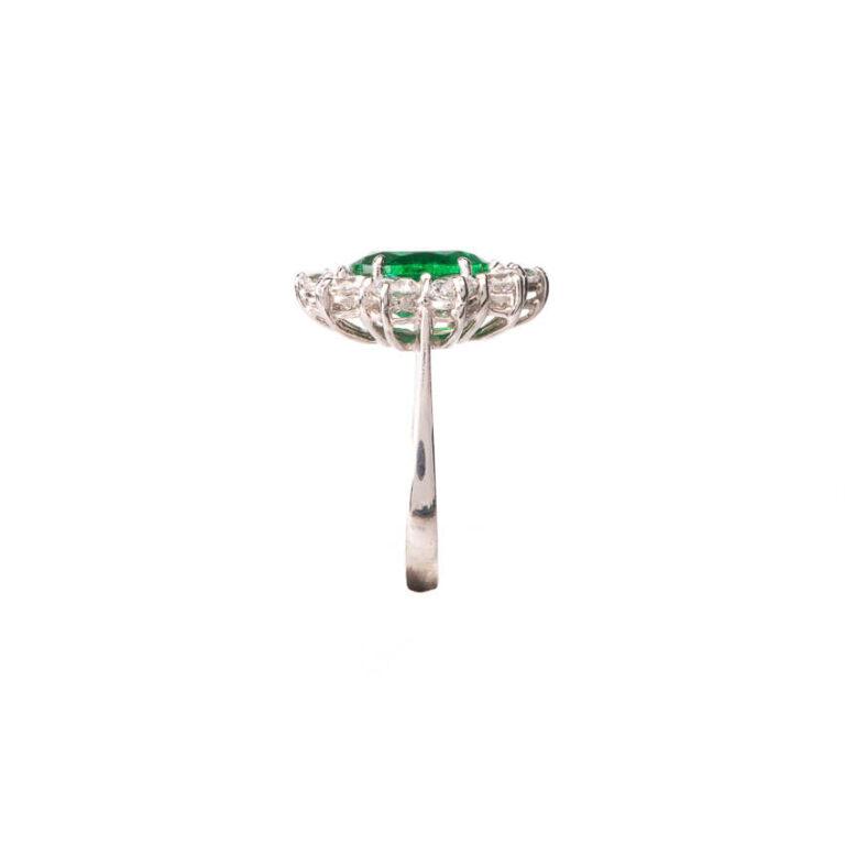 Anello fidanzamento verde smeraldo corona zirconi 5
