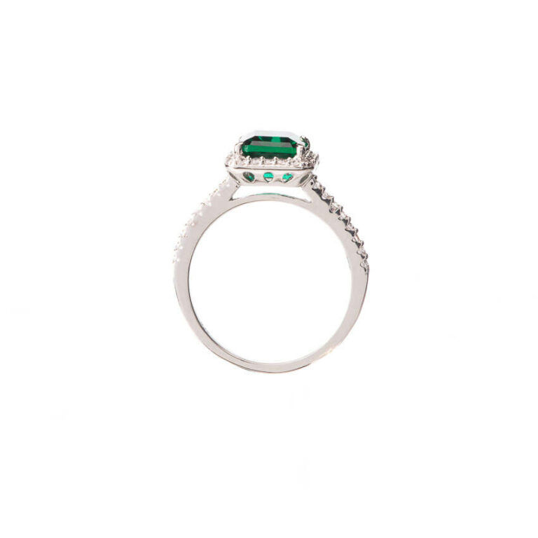Anello solitario pietra centrale verde smeraldo 3
