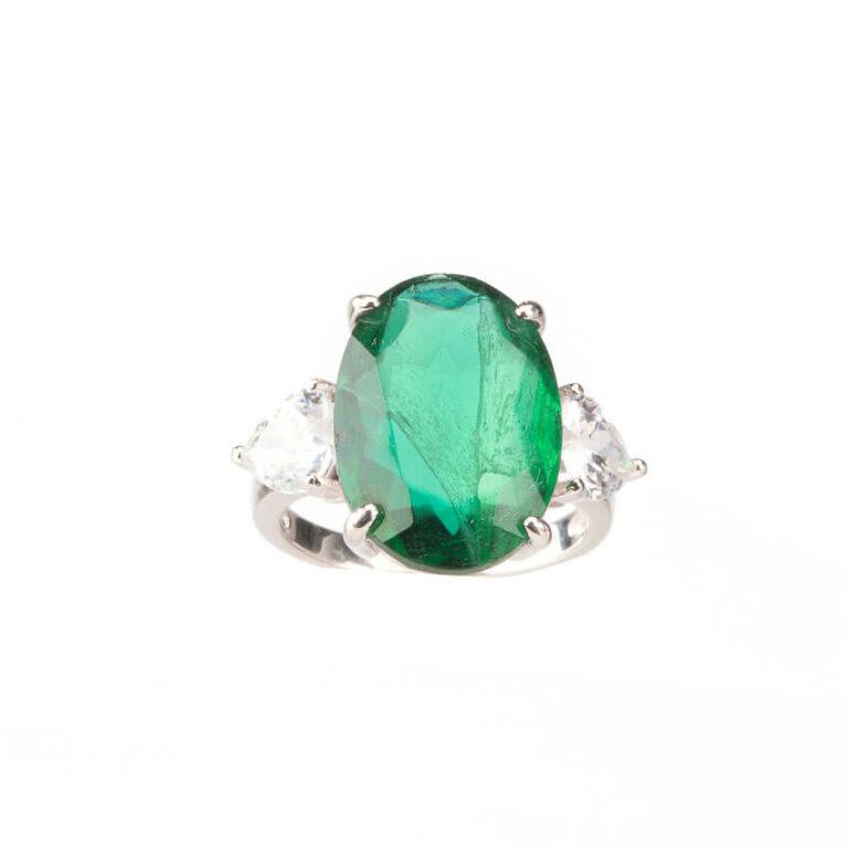 Anello tre pietre verde smeraldo ovale zirconi 1