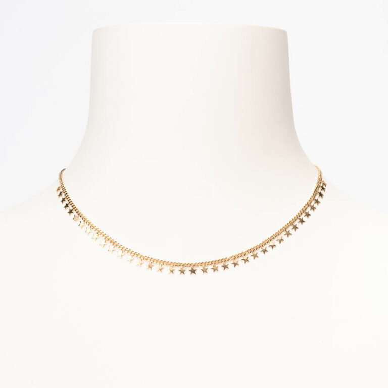 Collana girocollo extra mini groumette stelline oro 1