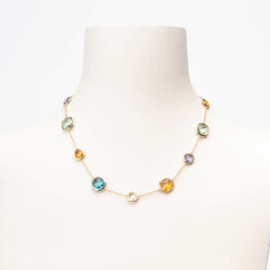 Collana girocollo oro quarzi multicolor