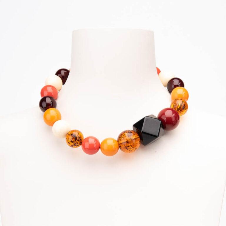 Collana girocollo sfere resina ambra multicolor