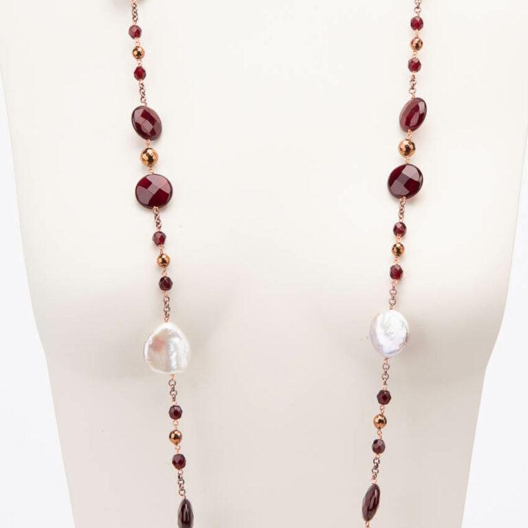 Collana lunga perle fiume rosso granato base rame 2