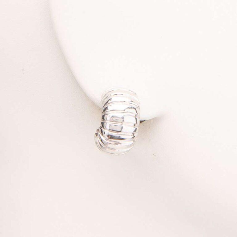 Orecchini clip mezzo cerchio argento bombato tubo gas 1