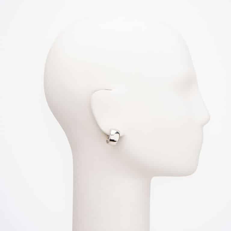 Orecchini clip mezzo cerchio argento liscio 2