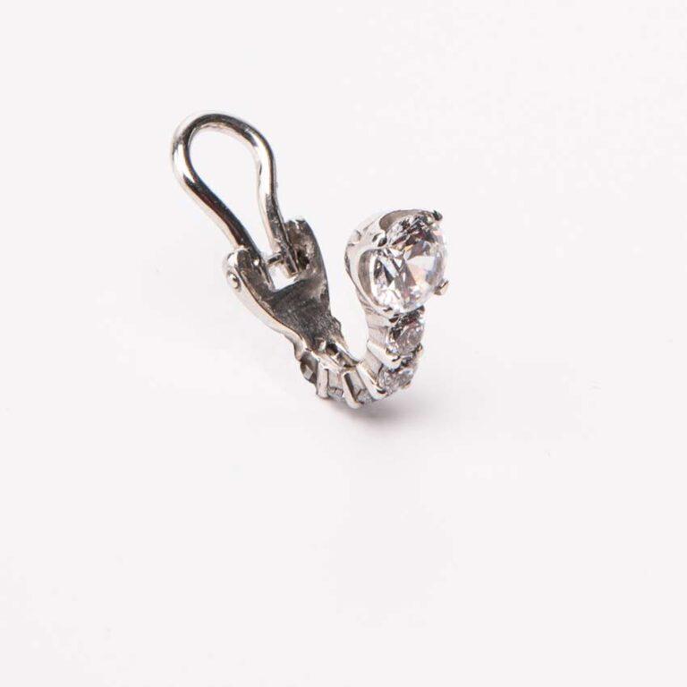 Orecchini punto luce clip argento zirconi 3