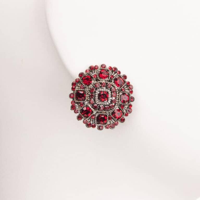 Orecchini clip bottone cristalli rossi 1