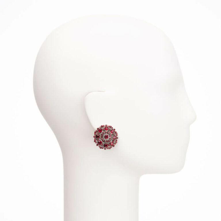 Orecchini clip bottone cristalli rossi 2