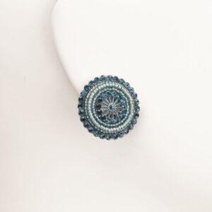 Orecchini clip bottone microcristalli blu 1