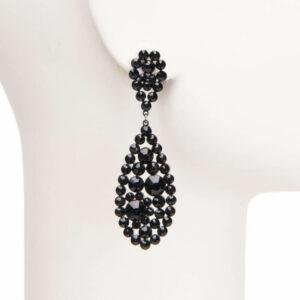 Orecchini pendenti perno cristalli neri splendenti 1