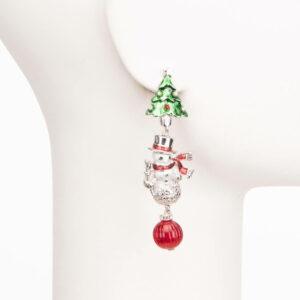 Orecchini clip argento albero Natale pupazzo neve 1