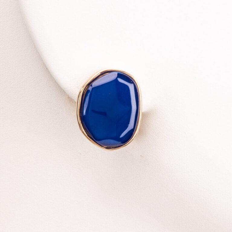 Orecchini clip bottone ovale oro blu cobalto 1