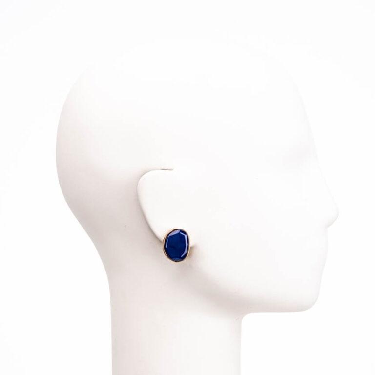 Orecchini clip bottone ovale oro blu cobalto 2