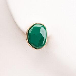 Orecchini clip bottone ovale oro verde bottiglia 1