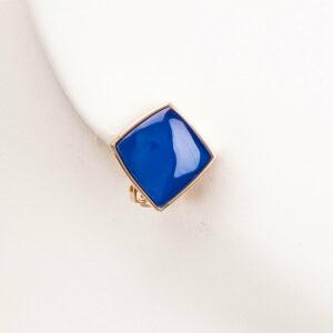 Orecchini clip geometria quadrata oro blu cobalto 1
