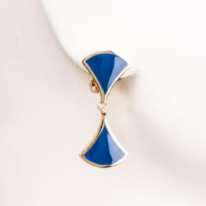 Orecchini clip modello ventaglio oro blu 2