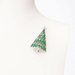 Spilla natalizia albero Natale verde argento rosso 2
