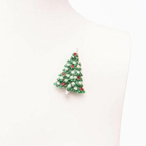 Spilla natalizia alberto Natale pino verde cristallo rosso 01