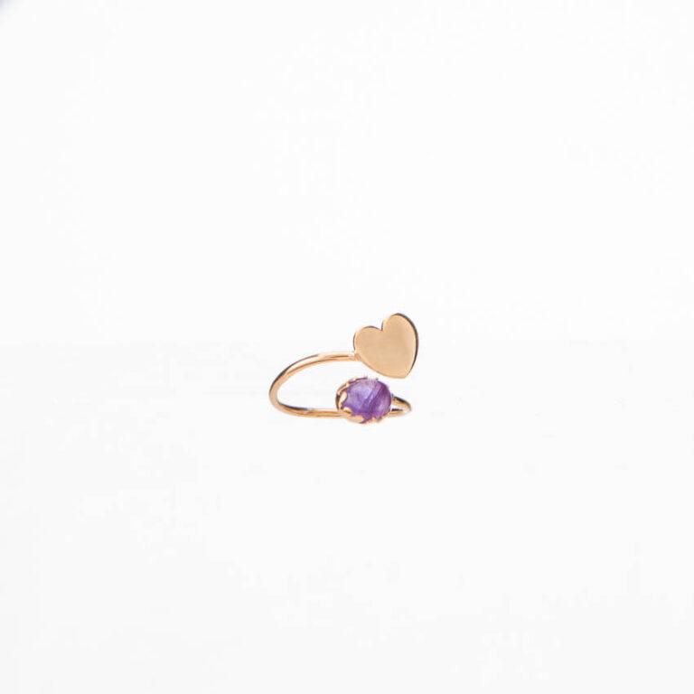 Anello piccolo contrariè oro cuore cabochon ametista 3