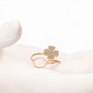 Anello piccolo contrariè oro quadrifoglio pietra luna 3