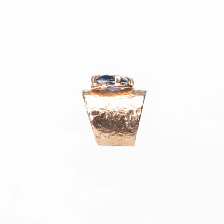 Anello abbraccio oro goccia quarzo zaffiro Ceylon 4