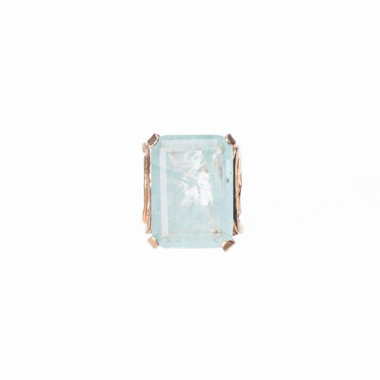 Anello fascia alta oro pietra rettangolare acquamarina 4