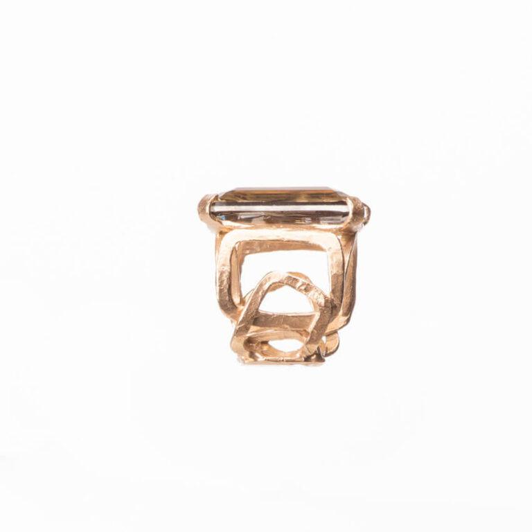 Anello fascia oro pietra rettangolare topazio smoke 3