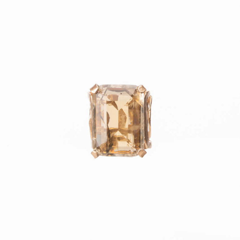 Anello fascia oro pietra rettangolare topazio smoke 5