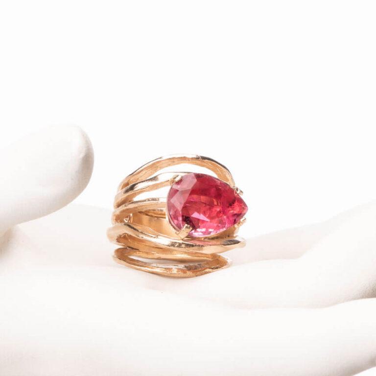 Anello multi fedine oro goccia quarzo rubino 2