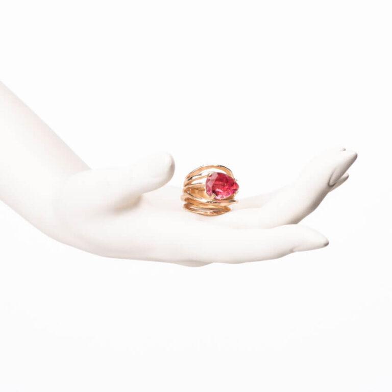 Anello multi fedine oro goccia quarzo rubino 4