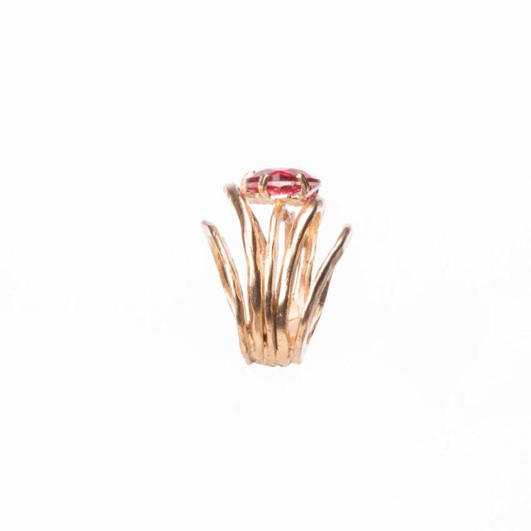 Anello multi fedine oro goccia quarzo rubino 1