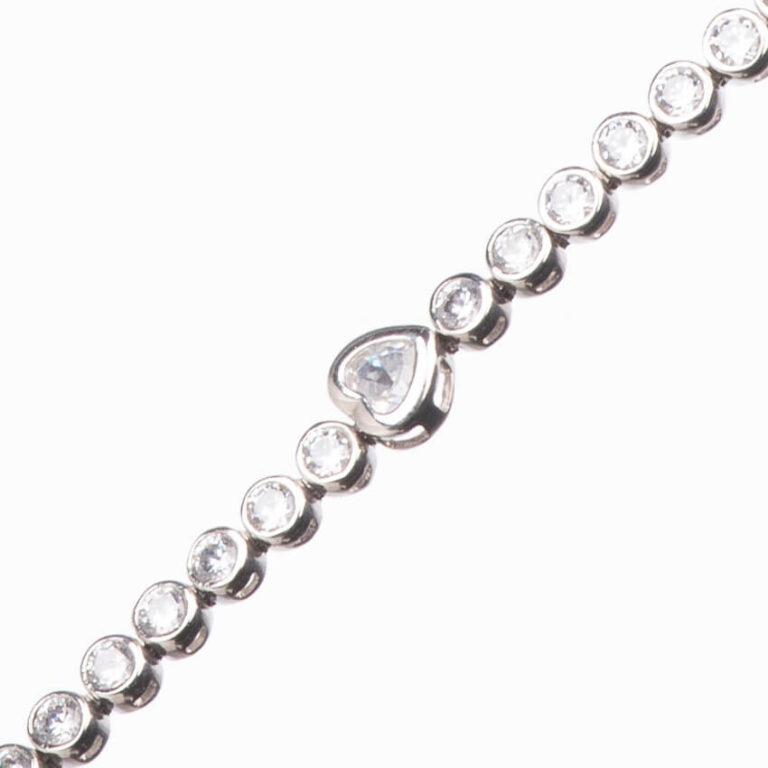 Braccialetto tennis modello cuori argento zirconi 2