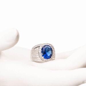 anello fascia argento zircone zaffiro 1