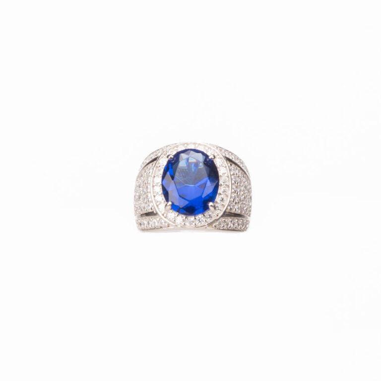anello fascia argento zircone zaffiro 3