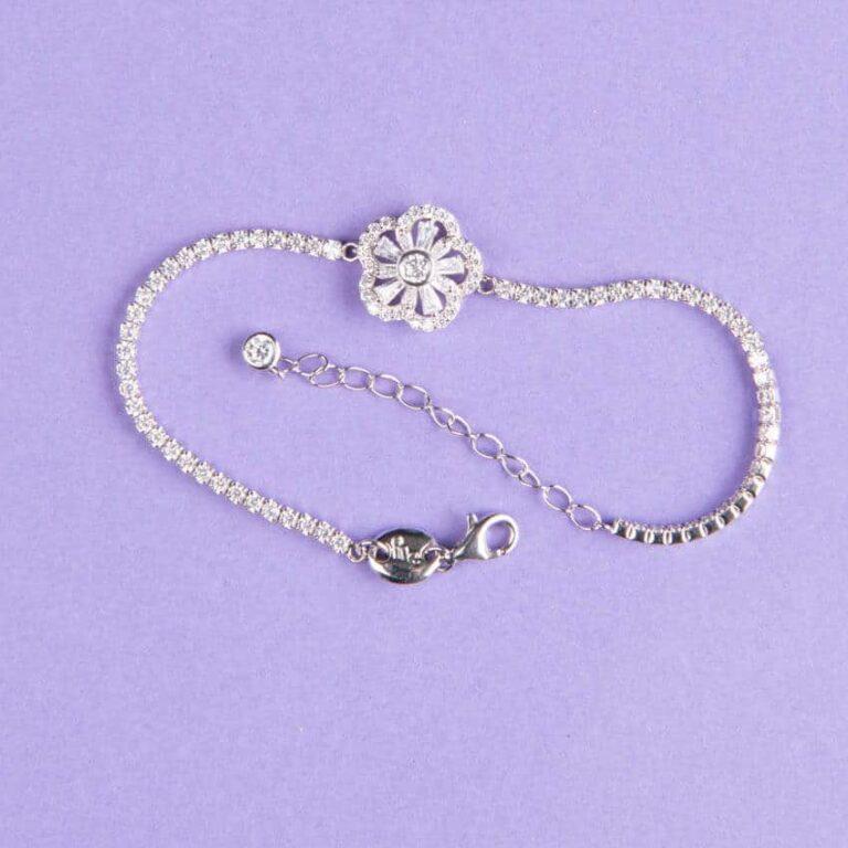 Braccialetto tennis fiore centrale argento cinque petali 2